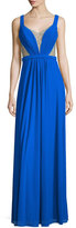 La Femme Sleeveless Illusion Beaded V-Neck Gown, Electric Blue