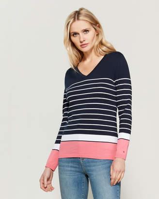 Tommy Hilfiger Ivy V-Neck Striped Long Sleeve Sweater