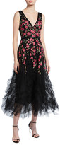 Marchesa Sleeveless Floral Embroidered Ruffle-Hem Tulle Dress