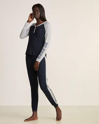 Tommy Hilfiger Two-Piece Long Sleeve Henley Top & Pants Pajama Set