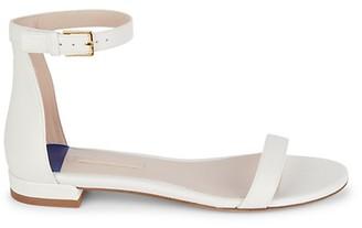 Stuart Weitzman Leather Ankle-Strap Sandals