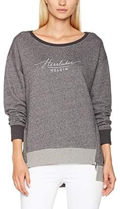 Herrlicher Women's Hallina Sweat Sweatshirt, (Dark Grey Melange 413), Small