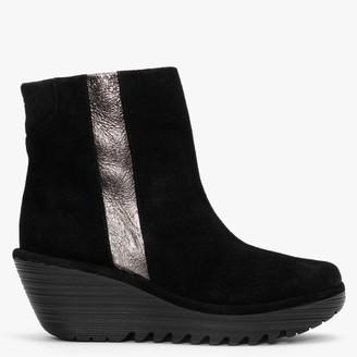 Fly London Yulu Black Suede Metallic Stripe Wedge Ankle Boots