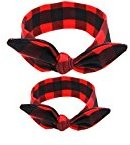 Frcolor Baby and Mom Headbands Bow and Knot Hair Bands Elastic Headwear - Red Grid