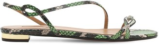 Aquazzura 10mm Serpentine Snakeskin Flat Sandals