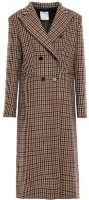 Sandro Double-breasted Checked Wool-blend Coat