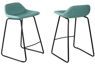 """Williston Forge Giorgi Counter & Bar Stool Seat Height: Counter Stool (25"""" Seat Height), Upholstery: Aqua"""