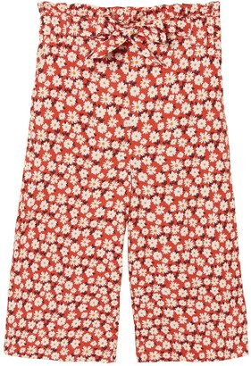 Fat Face Girls Daisy Print Woven Culottes - Red
