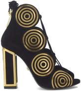 Kat Maconie Vera Sandal In Golde Suede And Gold Laser Cut Metallic Swirls