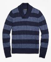 Brooks Brothers Supima® Cotton Stripe Shawl Collar Sweater