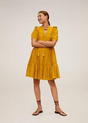 MANGO Openwork cotton dress mustard - 4 - Women