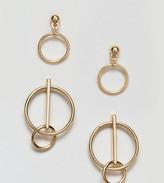 Asos Pack Of 2 Mixed Circle Hoop Earrings