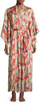 Natori Dynasty Pearl-Print Long Robe, Red/Multicolor