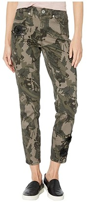 Tribal Five-Pocket Ankle Jeggings w/ Patches in Leaf