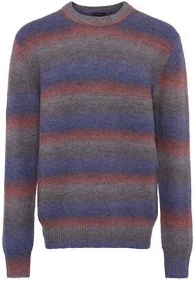French Connection Men's Space Dye Stripe Crewneck Sweater