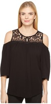 Karen Kane Lace Yoke Cold Shoulder Top Women's Clothing