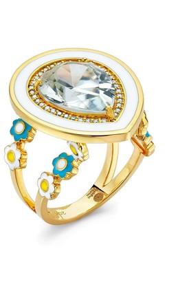 BUDDHA MAMA 20kt Yellow Gold Diamond Zircon Pear Shaped Ring