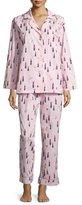BedHead Lipstick-Print Long-Sleeve Classic Pajama Set, Pink