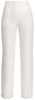 Adriana Iglesias Lauren Jacquard Leopard-Print Stretch-Silk Pants