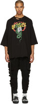 Unravel Black Distressed Snake Boxy T-shirt