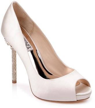 Badgley Mischka Evania Peep Toe Embellished Heel Pump