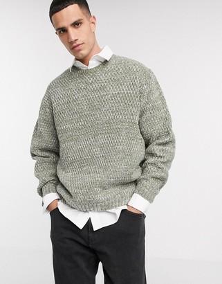 ASOS DESIGN oversized textured sweater in green textured yarn