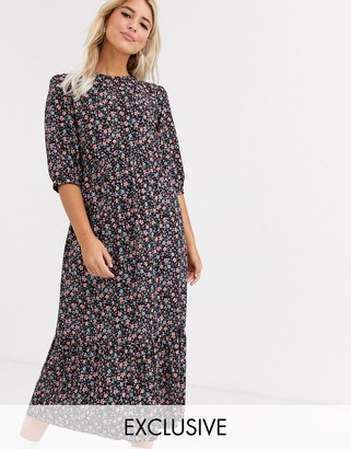 New Look tiered smock midi dress in multi coloured floral