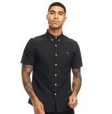 Farah Mens Brewer Slim Button Down Short Sleeve Shirt Black Ink