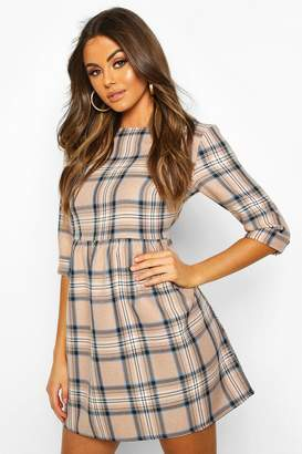 boohoo Tonal Check 3/4 Sleeve Smock Dress