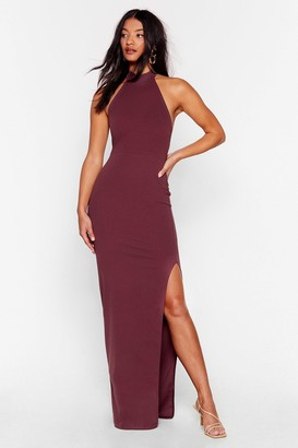 Nasty Gal Womens Slit While You're Ahead Halter Maxi Dress - Mauve