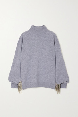 Christopher Kane Chain-embellished Wool, Silk And Cashmere-blend Sweater - Gray