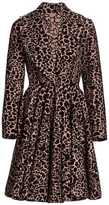 Alaia Manteau Intarsia Knit Fit-&-Flare Coat