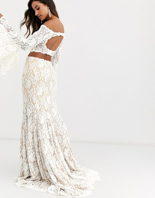 Jovani lace two pieces with bell sleeves-White