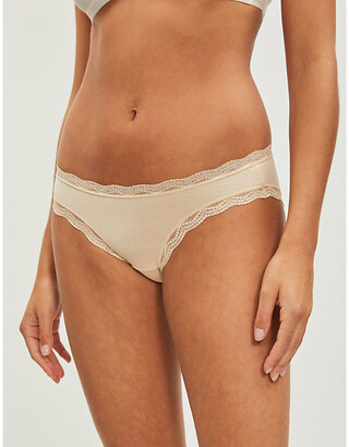 Stripe & Stare High-rise lace stretch-jersey briefs