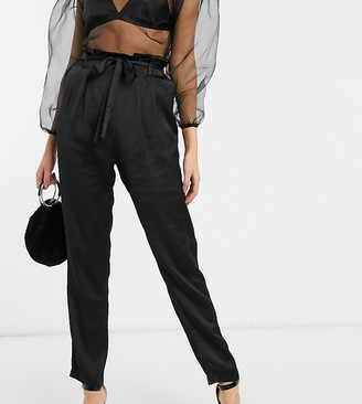 Outrageous Fortune Tall high waist cigarette pants with belt in black