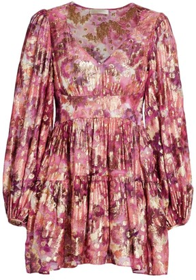 LoveShackFancy Willis Puff-Sleeve Mini Dress