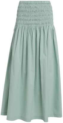 STAUD Sunday Ruched Maxi Skirt