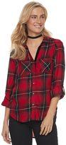 Rock & Republic Women's Button Front Plaid Shirt