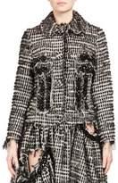 Simone Rocha Crystal-Embroidered Distressed Tweed Jacket