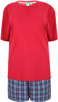 Yours Clothing D555 Dark Red T-Shirt With Woven Checked Shorts