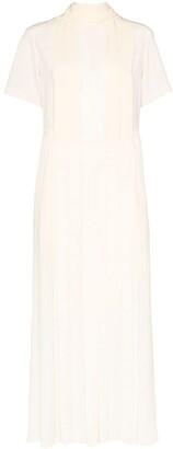 Chloé Cutout Pleated Silk Maxi Dress