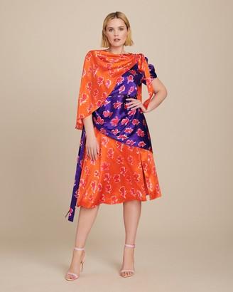 Prabal Gurung Lunu Short Sleeve Cutout Sash Dress