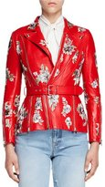 Alexander McQueen Floral-Embroidered Leather Jacket, Red