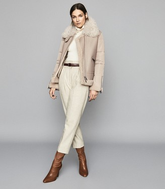 Reiss Solene - Shearling Jacket With Quilted Panels in Neutral