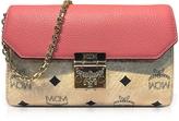 MCM Medium Coral Blush Millie Visetos Leather Block Flap Crossbody Bag