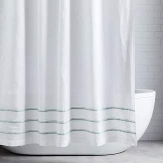 west elm Belgian Linen Embroidered Stripe Shower Curtain - Sea Salt Blue