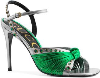 Gucci Crawford 95mm Metallic Knot Sandals