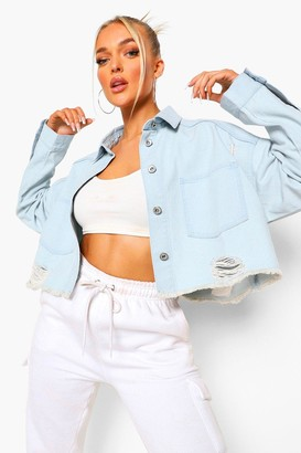 boohoo Distressed Crop jean jacket