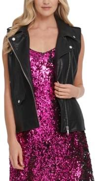 DKNY Faux-Leather Moto Vest
