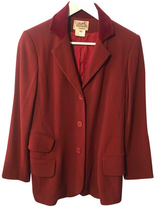 Hermes Burgundy Wool Jackets